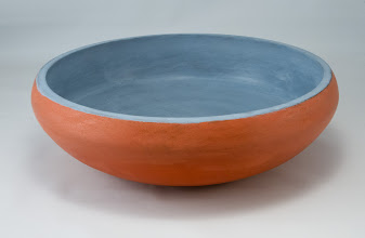 "Photo: Stan Wellborn 11"" x 3 1/2"" painted bowl [walnut, milk paint]"