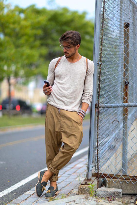 man in khaki pants