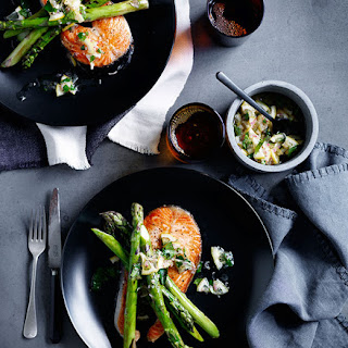 Grilled Salmon Chops with Asparagus and Lemon Relish Recipe