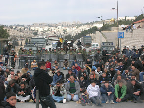 Photo: Israelis block all entrances to mosques in Jerusalem on Fridays (Muslim's holy day). Only men over 50 and under 15 are allowed into the mosques. This was a rather peaceful protest.