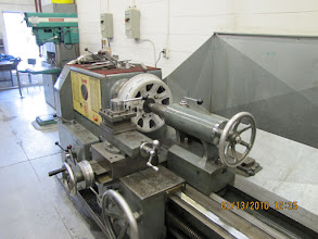 Photo: A shot of the Stanley Lathe in the Canada Science and Technology Museum's Machine Shop after the ice-cutter ridge was successfully removed.  Photo courtesy of Jack Loucks.