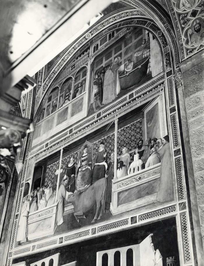 Maso di Banco, San Silvestro chiude la bocca al drago col segno della croce, San Silvestro resuscita due maghi uccisi dal drago, Cappella Bardi di Vernio, dopo il restauro, eseguito da Amedeo Benini nell'anno 1937, Santa Croce, Firenze