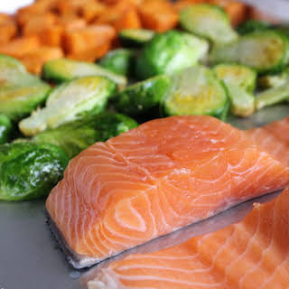 Salmon, Brussels Sprouts & Sweet Potatoes.