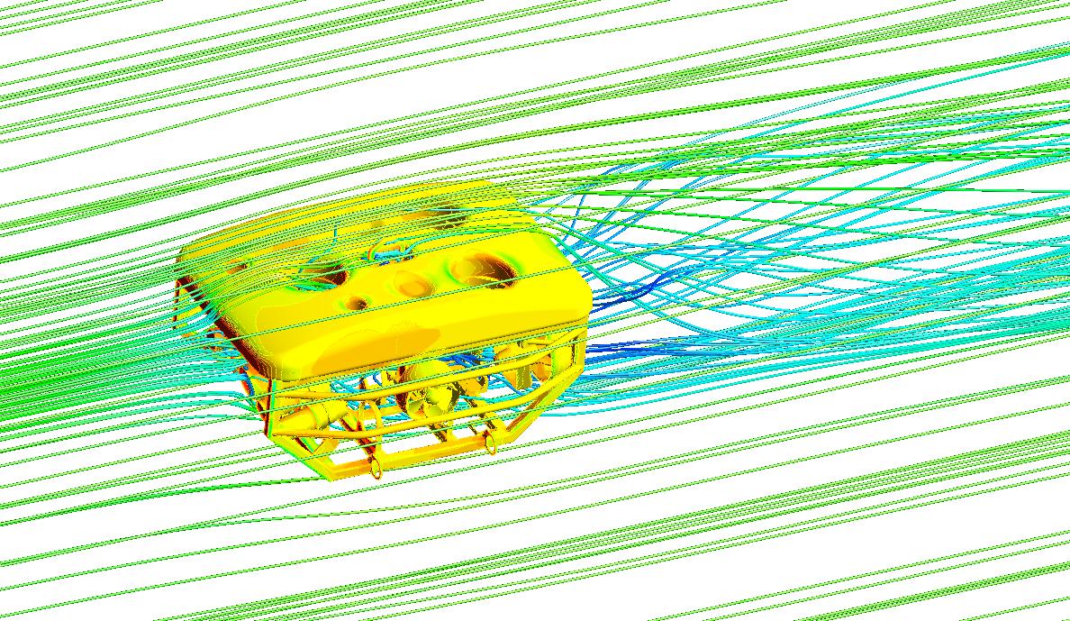 ANSYS Распределение давлений на поверхности АДУ и линии тока