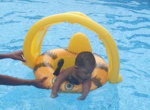 Photo: Gabe enjoys the pool too.