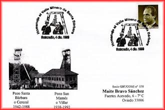 Photo: Matasellos de Homenaje al Valle Minero de Santa Barbara emitido en Sotrondio en diciembre de 1999