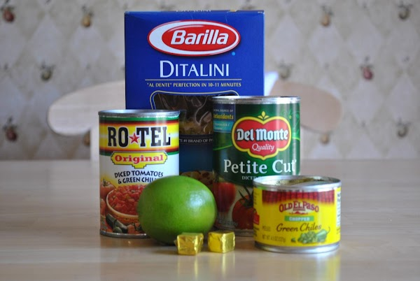Put tomatoes, tomato juice, green chiles, water, onion, lime juice and bouillon cubes in...