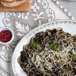 Pasta Negra   Seafood spaghetti in squid ink sauce.