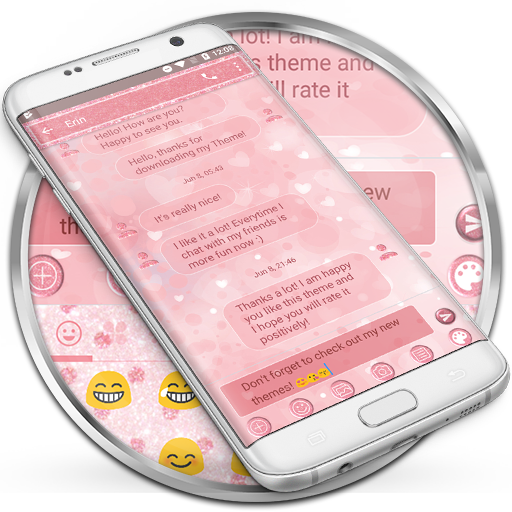 SMS Messages Glitter Heart Theme