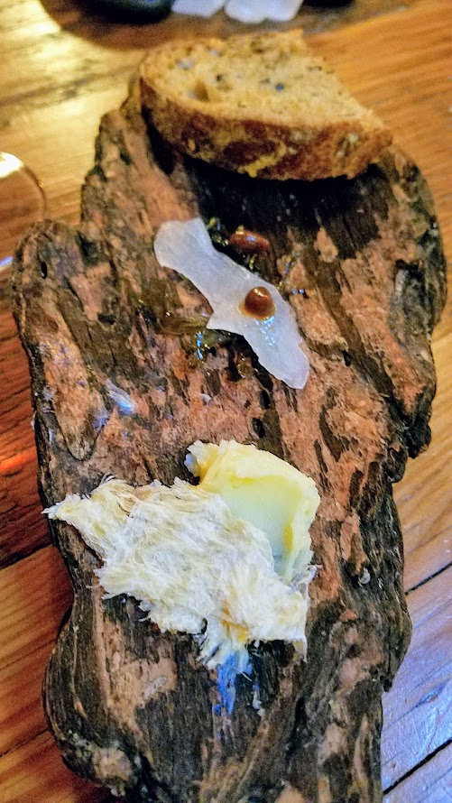 imbul PDX, an Icelandic Pop up Harðfiskur (dried fish), Cod cheek, black garlic, dulse Paired with Johan Vineyards, Petillant Naturel, Rosé of Pinot Noir, 2015, Willamette Valley Oregon