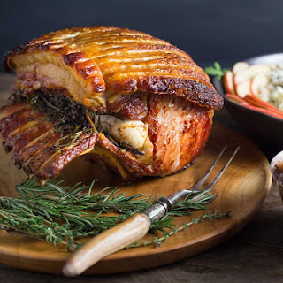 Garlic and Herb Roasted Pork Loin with Crackling and Spiced Apple Chutney