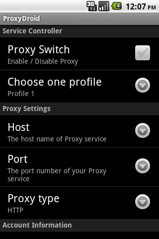 ProxyDroid screenshot 1