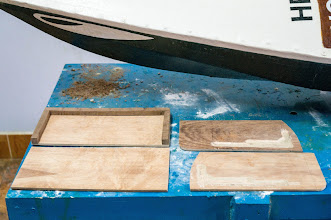Photo: two halves of the skeg box, and two halves of the skeg blade