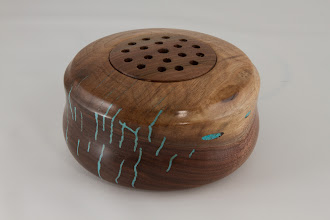 "Photo: Mike Colella 5"" x 3"" potpourri holder [walnut with Turquoise inlay]"