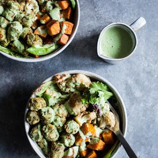 Roasted Vegetable & Kale Puff Nourish Bowls with Creamy Hemp Herb Dressing Recipe
