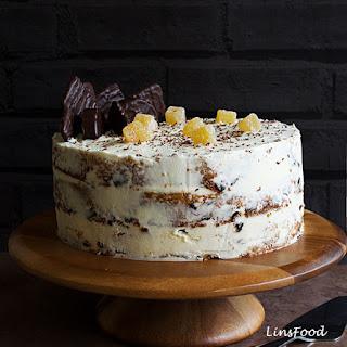 Semi-Naked Ginger Birthday Cake with Ginger & Lemon Curd Icing.