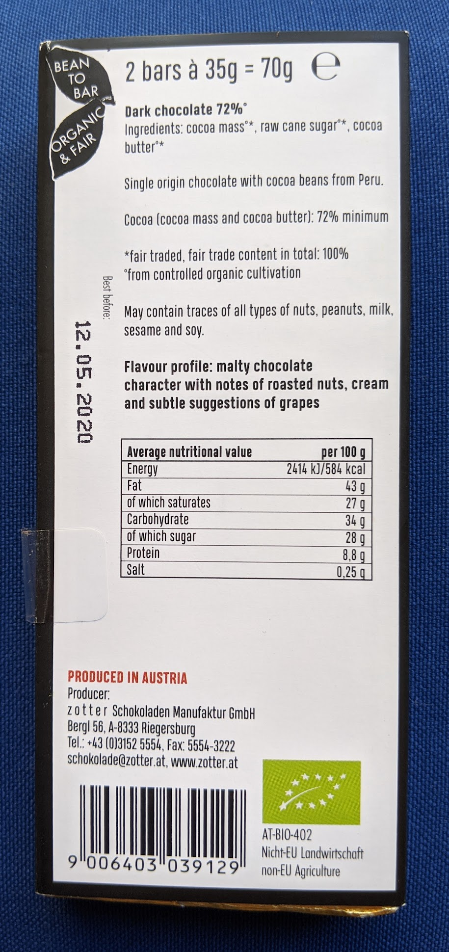 72% zotter cocoa not cocaine bar