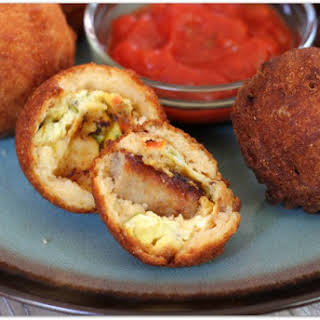 Cornbread Battered Breakfast Bites with Sausage and Egg.