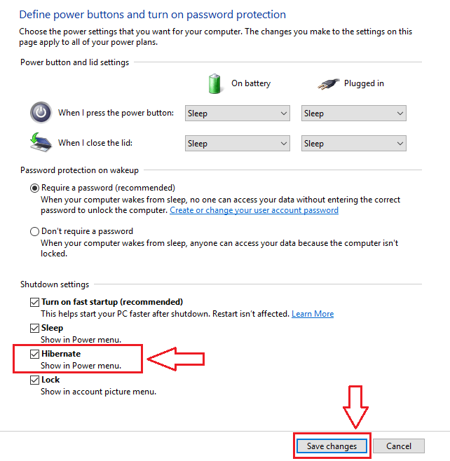 Enable Hibernate option to your Windows 10 PC with the Power option 2