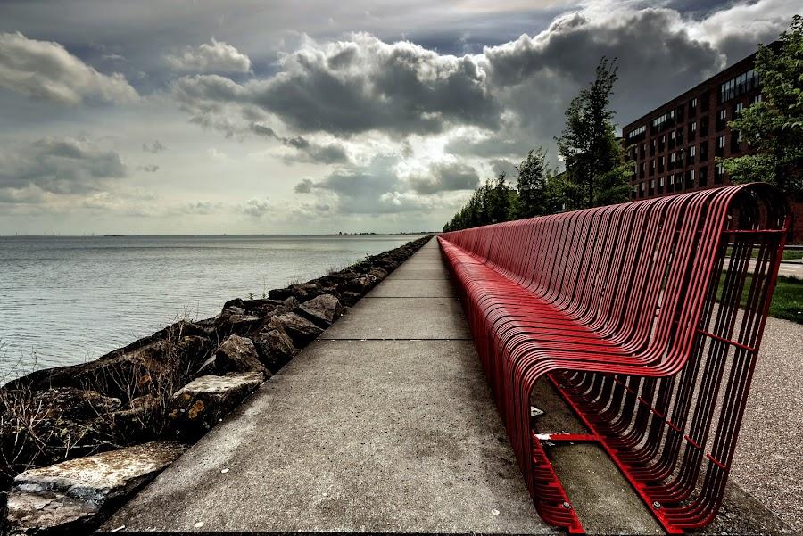 Red bench by Marjolein Parijs - City,  Street & Park  Vistas ( colour, waterline, dramatic, moody, city )