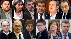Montaje con los rostros de los líderes independentistas del 1-O y presos del 'procès' .