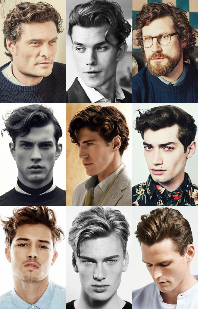 Men's Naturally Wavy and Curly Hairstyles - Natural Side Partings and Quiffs