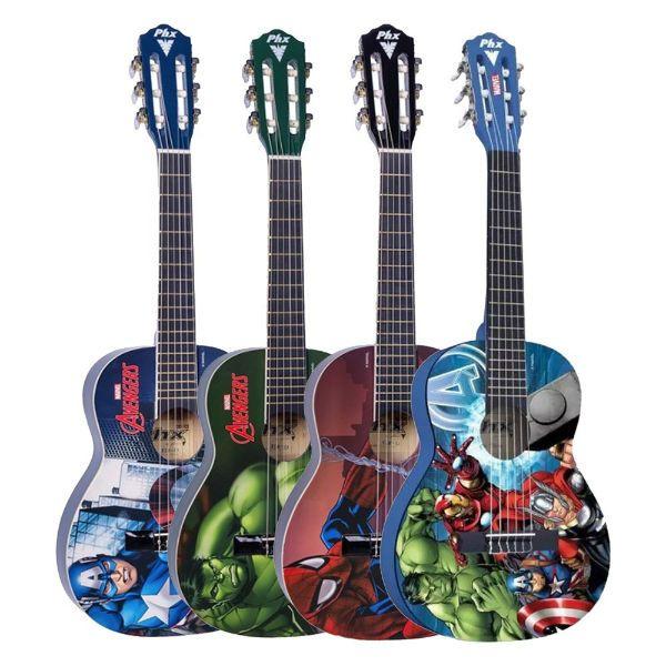 Guitarra de la marca PHX con el tema Avengers