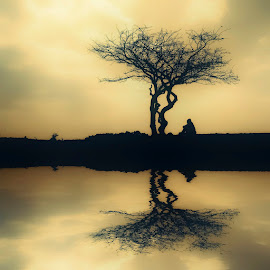 Reflection by Costin Mugurel - Digital Art People ( reflection, sky, nature, tree, people )