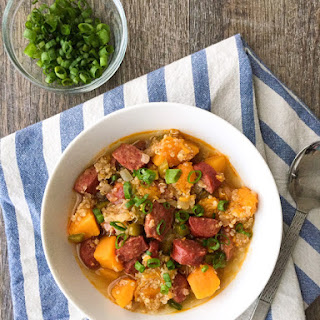 Butternut Squash Stew with Andouille and Quinoa.