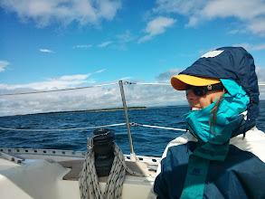 Photo: Anne bundled up as we enter the Greorgian Bay, OT