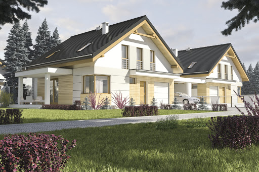 projekt Nowinka II z garażem i wiatą bliźniak A1-BL1
