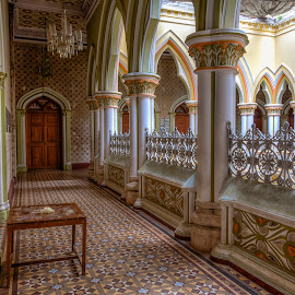 Architecture (at the Bangalore Palace) by John Hoey - Buildings & Architecture Public & Historical ( bangalore, interior, building, bangalore palace, color, royalty, asia, top floor, india, historical, travel, architecture, palace )