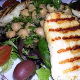 Grilled Halloumi Salad With Herby Chickpeas.