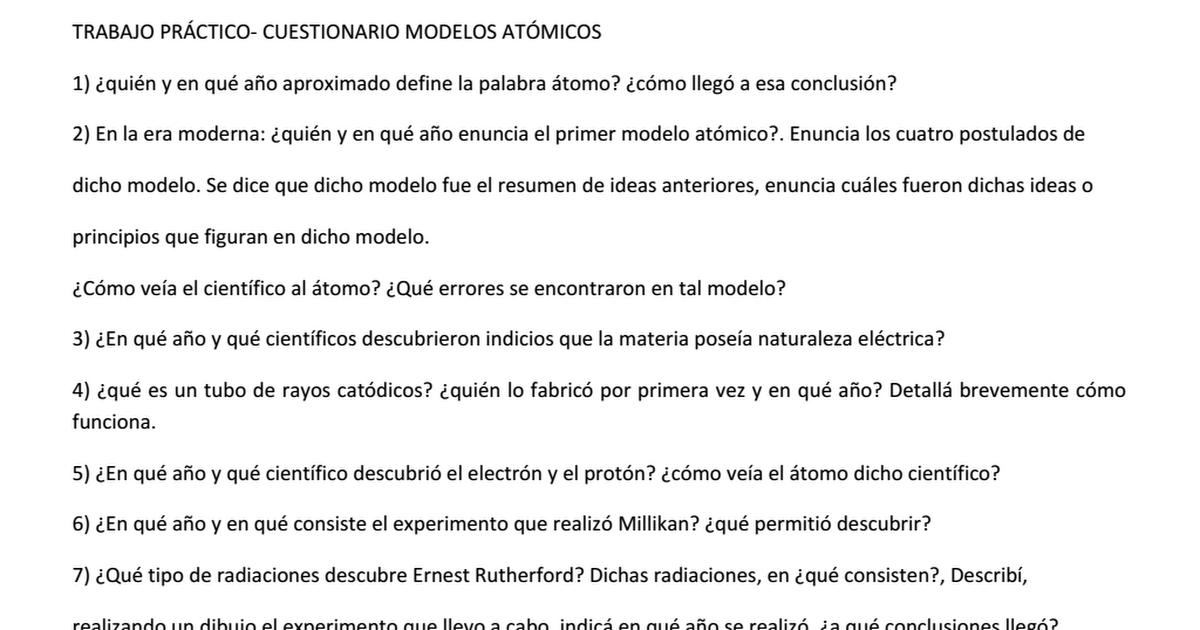 Trabajo Practico Cuestionario Modelos Atomicos Docx Google Drive