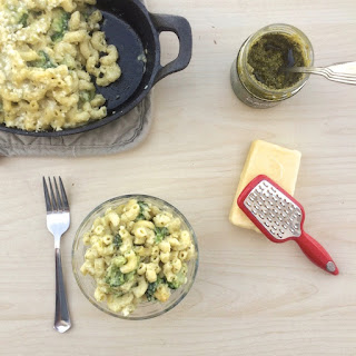 White Cheddar Pesto Mac & Cheese.
