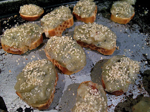 Photo: shrimp mixture topped with sesame seeds