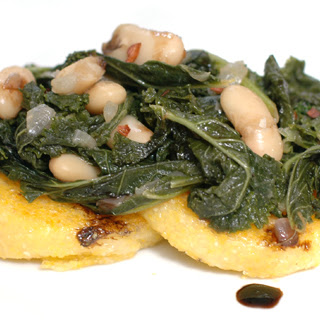 Polenta with Balsamic Kale & White Beans