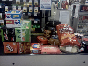 Photo: Our goodies up on the belt, I forgot to mention that we decided to try the Pepsi Throwback. We bought quite a bit but I have everything needed for cool snacks and drinks!