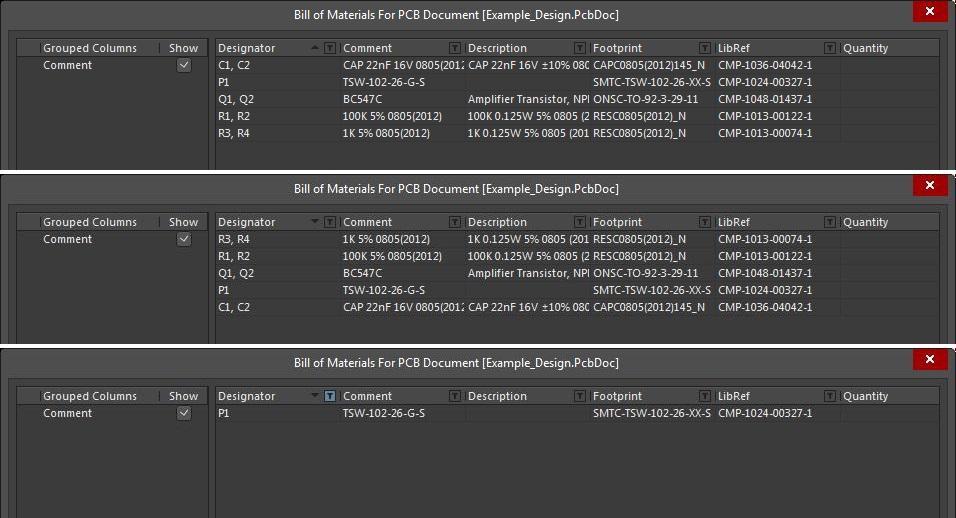 Screenshot der AD18 BOM-Menüoptionen für Bauteile in einer Stückliste