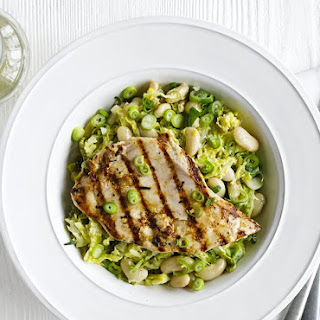 Chargrilled Chicken With White Beans And Cabbage.