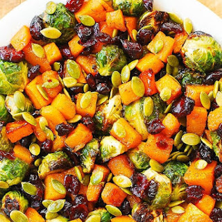 Maple Butternut Squash, Roasted Brussels Sprouts, Pumpkin Seeds, and Cranberries Recipe