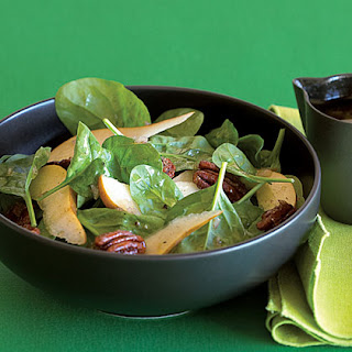 Candied Pecan, Pear, and Spinach Salad.