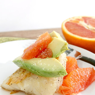 Pan Sauteed Cod with Avocado and Orange.