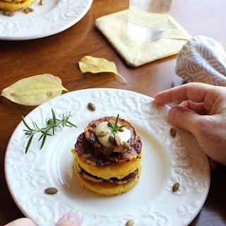 Polenta stacks with BBQ squash & cashew cream