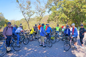 Photo: We gathered on a gorgeous fall day at the area overlooking Minnehaha Falls. The temperature was in the 60s and the sun was shining brightly - a perfect day for a bike ride.