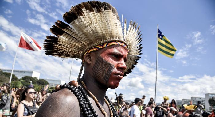Indigenous Brazilians protest for land rights.