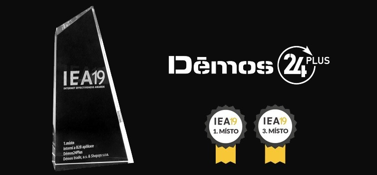 Ocenění B2B e-shopu Demos v soutěži Internet Effectiveness Awards 2019.
