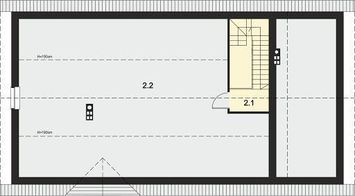 Tamina 2 - Rzut strychu (do aranżacji) 54,05 m2 (104,10 m2)