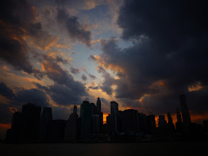 Photo: Sunset and storm clouds over the New York City skyline.  View the writing that accompanies this post here at this link on Google Plus:  https://plus.google.com/108527329601014444443/posts/4xoTcrChq3L  View more New York City photography by Vivienne Gucwa here:  http://nythroughthelens.com/