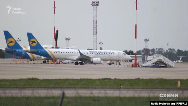 Літаки компанії «Міжнародні авіалінії України» в аеропорту «Бориспіль»